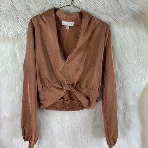 PINCH Silk Gold Crop Top Blouse Size Medium